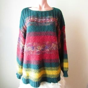 BDG Oversized Striped Sweater green, red, yellow